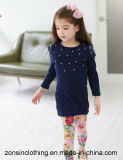 Kleidung der Kind-der Baumwolle2-piece Klage-(T-Shirt mit beading+ Hose)
