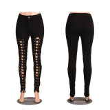 Black Ladies Bandage Demin Jeans Pencil Skinny Pants