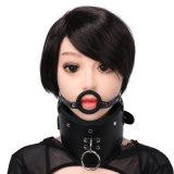 Brinquedos de couro do sexo da fetiche da manutenção programada do plugue da boca do colar da garganta da sujeição