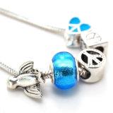 Цепь змейки с символом мира серебра сердца подписывает браслеты птицы серебряные