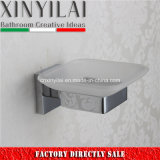 Prato de sabão quadrado de banheiro com suporte de latão cromado montado na parede