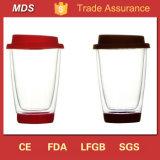Venta caliente doble pared vaso para beber una taza con cubierta de silicona y la parte inferior