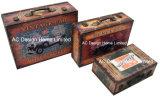 S/3 Doos van de Koffer van de Opslag van de Druk Pu Leather/MDF van het Ontwerp van de Decoratie de Antieke Uitstekende Zeer belangrijke Houten