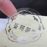 Auto-adhesivo de la etiqueta impermeable transparente / claro de plata Impresión Ronda