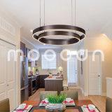 Moderner dunkler Brown-runder Ring-hängendes Aluminiumlicht für Wohnzimmer