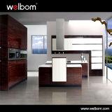 Haute brillance placages de bois de conception moderne des armoires de cuisine