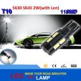 Lenの電球DC 12Vを運転する自動光源のヘッドライトの駐車を用いる高い発電LEDレンズT10 5630 11SMD Canbus LEDランプ2W
