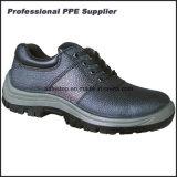 Zapatos de funcionamiento duros de la punta de acero escotada del cuero genuino