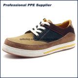 Zapato de trabajo compuesto antirresbaladizo de cuero de la seguridad de la punta del ante