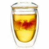 ガラス茶ガラスコップのフィルターが付いている赤いティーカップの緑茶のコップをカスタマイズしなさい