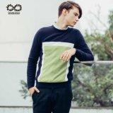 Strickjacke des ODM-Farben-Block-Mann-Pullover-100%Cashmere