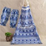 Impreso de algodón delantal de cocina para cocinar con bolsillos