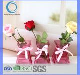 Heet verkoop Vaas van het Tafelblad van het Glas van de Kleur de Roze voor het Decor van het Huis