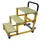 220kv Yellowfiberglass Step Stool con Casters (RBFS-03)
