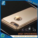 Caja suave del teléfono celular de Bling del espejo de lujo TPU del diamante para el iPhone 6/6plus