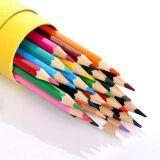 Étudiante en dessin au crayon de couleur en bois avec logo personnalisé