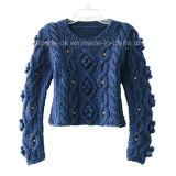 Il nuovo disegno su ordinazione lavora a mano i lavori o indumenti a maglia dell'abito del pullover del cardigan del maglione