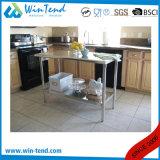 Banco de trabalho contínuo reforçado da cozinha da construção robusta do aço inoxidável da câmara de ar prateleira quadrada com pé ajustável do pé