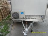 Carro móvel do cão quente com o indicador de vidro de deslizamento