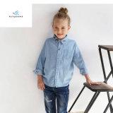 Camicia lunga del denim del manicotto delle nuove ragazze di stile con ricamo dai jeans della mosca