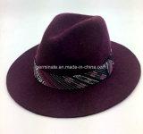 인쇄된 악대 (YGF036)를 가진 모직 모자 중절모 중절모 모자