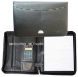 Zip A4 Bonded Leather File Portfolio Folder avec calculatrice