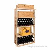 Piso de madeira Regadora de garrafas de armazenamento de vinho Suporte com roda