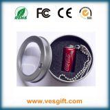 Mecanismo impulsor vendedor caliente de la pluma de la botella del metal del diseño del palillo del USB de la Coca-Cola
