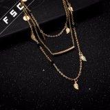 葉の女の子のための金によって層にされる長いチョークバルブの合金棒ネックレス