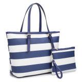 デザイナー印刷のトートバックのショッピング・バッグはショッピング・バッグを縞で飾る