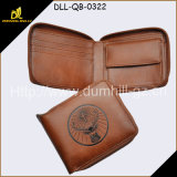 Молодые человеки портмоне застежки -молнии вскользь типа имитационные, портмоне людей Brown молодое кожаный