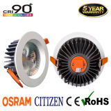 Garantia de 5 anos CRI90 Recessed 15W Citizen COB LED Downlight com Osram Driver
