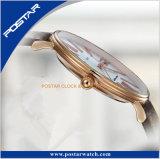 Diseño ultrafino del reloj de los pares con la correa de la OTAN y la correa de cuero genuina