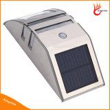 Водонепроницаемый 2 СИД солнечный свет стены PIR датчик движения Солнечный свет сада Настенный светильник с нержавеющей стали солнечные лампы