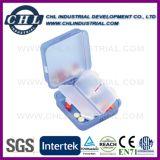 En forma de píldora fabricante del envase de plástico con corazón de metal llavero