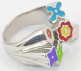 La mode en acier inoxydable époxy jolie fleur bague colorée