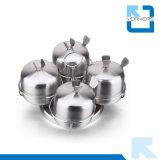 4 parti 201 dell'acciaio inossidabile dello zucchero del sale del pepe del condimento del vaso girante della spezia