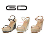 Gdshoe Ladies High Heel Shoes Praia Straw Wedges Shoes