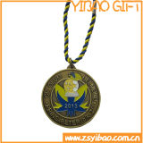 Kundenspezifisches Firmenzeichen-silberne Sport-Antimedaille mit Metallkette (YB-MD-09)