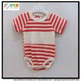 縞の印刷の赤ん坊の服装の円形の首の新生のBodysuits