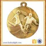 Medalhas chapeadas ouro personalizadas do futebol do futebol da liga do zinco
