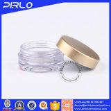 frasco cosmético plástico de 5g 5ml com tampa dourada