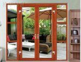 Puerta de cristal deslizante de aluminio del balcón del lujo con el color de madera (pH-8805)