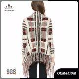 格子縞のフリンジのニットレディースセーターのジャケット