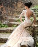 Vestido de casamento longo nupcial Lb897 da sereia das luvas do vestido de casamento de Champagne