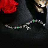 Vintage Bells Pendant & Green Murano Beads Openwork Charm Bracelets