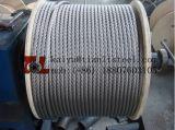 cuerda de alambre de acero inoxidable de 6X36 Iwrc 32m m