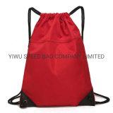Cordão de ginásio poliéster mochila de desporto de saco com bolsos dobrável