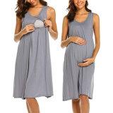 3dans1 Robe sans manches en couches de soins infirmiers de la maternité de l'allaitement Robe Robe de nuit
