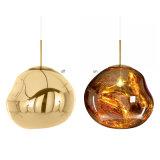Pfosten-modernes Rot/Chrom-/Goldglas, das hängende Lampen-Beleuchtung für Gaststätte/Esszimmer hängt